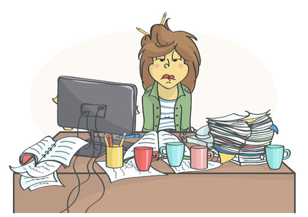 Exhausted, overworked business woman or a clerk sitting at messy office table, all in stress