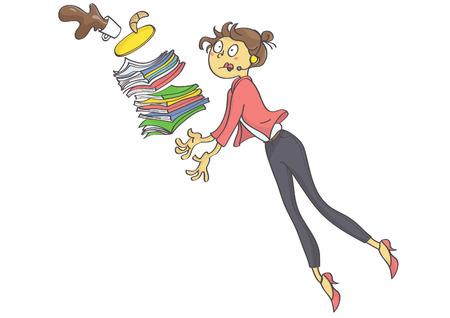 Cartoon Illustration von überarbeiteten Business-Frau, Sekretärin oder Trainee stolpern und fallen Büro Zeug und Kaffee. Vektorgrafik