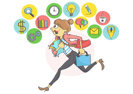hurrying: Manager woman or a clerk running all in stress, business icons above