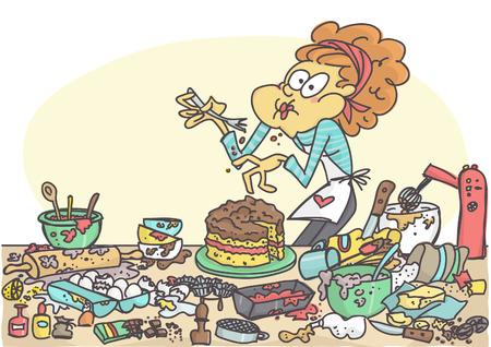 Funny cartoon of woman tasting a bad cake Stock Illustratie