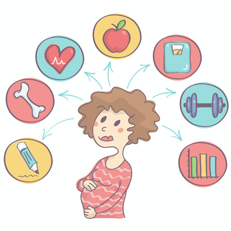 Cute vector cartoon of childbearing woman with colorful icons above her showing happy and healthy pregnancy concept Illustration