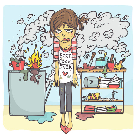 Funny vector cartoon of angry and stressed woman in messy kitchen
