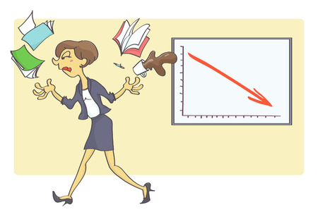 Woman quitting her job because of bad business indicators. Business crisis situation in the office. Illustration