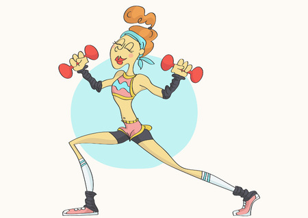 Cartoon of funny, stylish woman with fit body in sporty outfit exercising with dumbbells