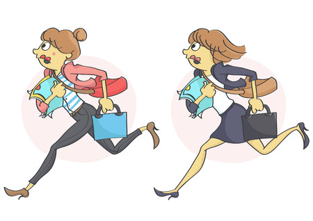 hysteria: Business woman or a clerk running in stress due to a deadline,  getting late for work or a meeting. Set of two characters.