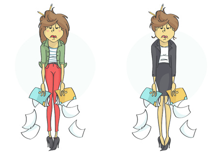 Exhausted, overworked business woman or clerk all in mess because of stress at work. Set of two characters.