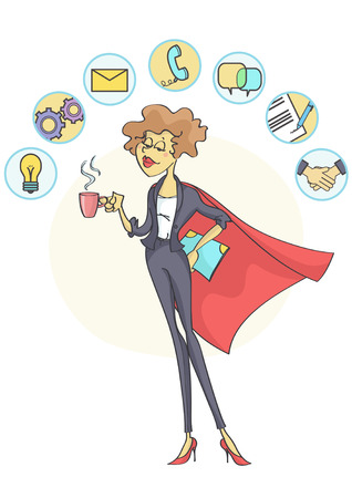 great coffee: Successful business woman with superhero cloak and coffee in her hand, multitasking business icons above her head. Illustration