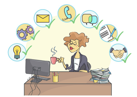 signing: Successful business woman sitting at office table, drinking coffee and smiling confidently, multitasking business icons above her head. Illustration