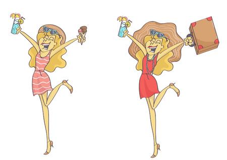 Stylish, happy tourist woman, set of two characters Illustration
