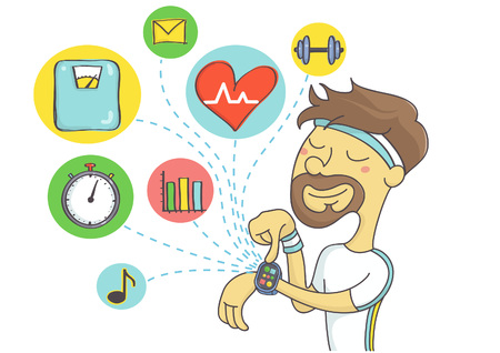 Wearable technology for sport men. Man checking out health data and planning exercise on smart watch.