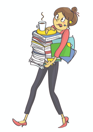Illustration of business woman, secretary or clerk overloaded with office tasks and work, all in stress. Exhausted, overworked multitasking woman, secretary or a trainee carrying office stuff.