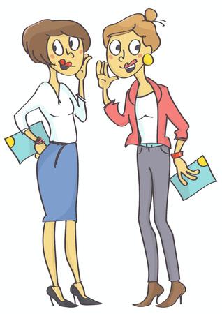 Dwie kobiety biura plotkują. Złe zachowanie w pracy. Ilustracje wektorowe