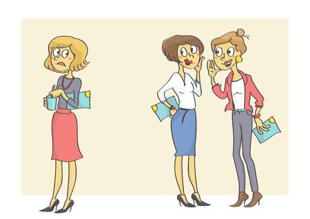Dwie kobiety w biurze plotkują kolegę. Złe zachowanie w pracy.