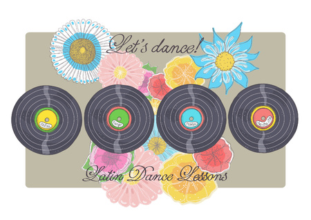 Illustration of Latin music vinyl records with flowers and inscriptions Illustration