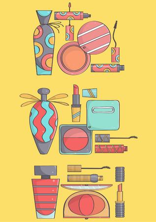Set of three stylish, fashionable makeup collections