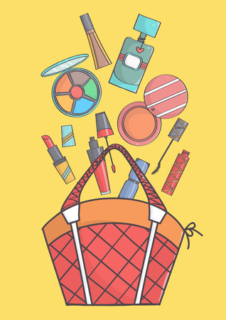 balm: Colorful illustration of makeup falling in or out of bag. Beauty cosmetics falling in or out of bag.