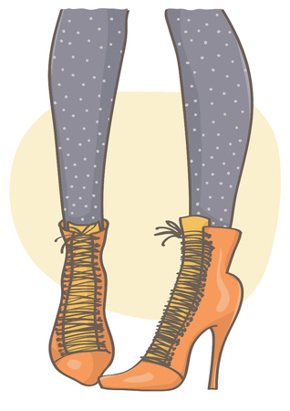 Illustration of female legs with orange pointy boots and black dotted stockings. Illustration