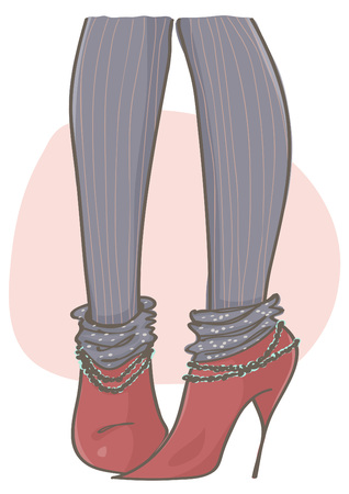 Trendy cartoon illustration with red stiletto boots and black stockings with stripes.