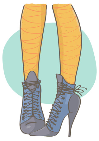 Vector drawing of high heel blue boots with yellow stockings. Legs with blue boots.