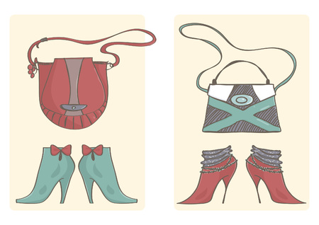 Two sets of handbags and high heels boots. Colorful vector collection of female shoes and bags.