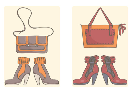 Vector set with stylish handbags and stiletto boots. Colorful drawing of trendy boots and bags.