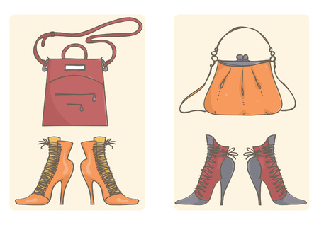 Collection of high heel boots and lady bags in red and orange. Vector set with purses and shoes.