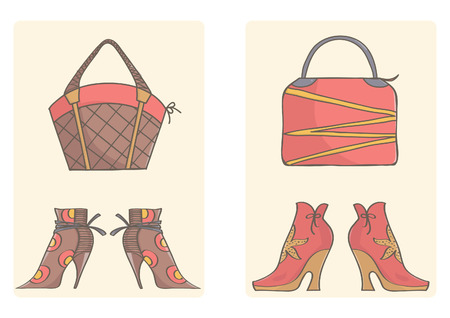 Footwear and handbags for women, vector collection. Brown and pink bags and boots on simple background. Illustration