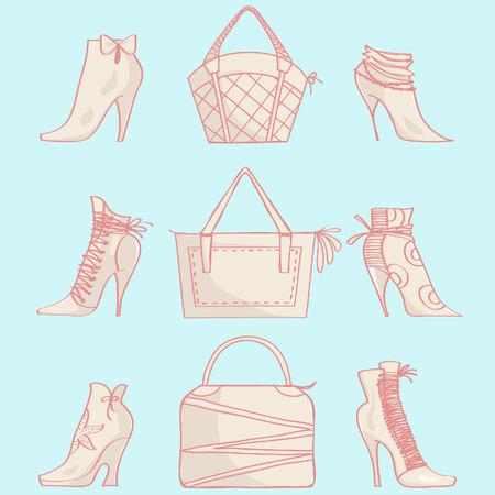 Conjunto de bolsos y botas de tacón alto. Vector de fondo con elegantes bolsos y zapatos femeninos.