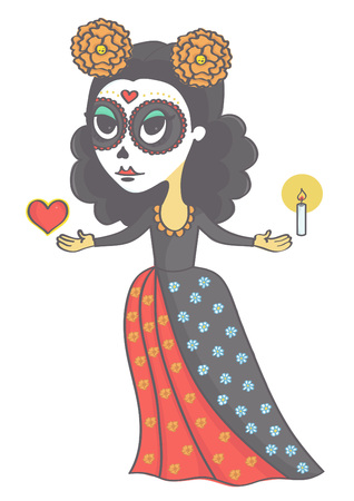 Cute sugar skull girl holding candle and heart. Vector drawing of woman in mexican style for day of the dead or halloween.