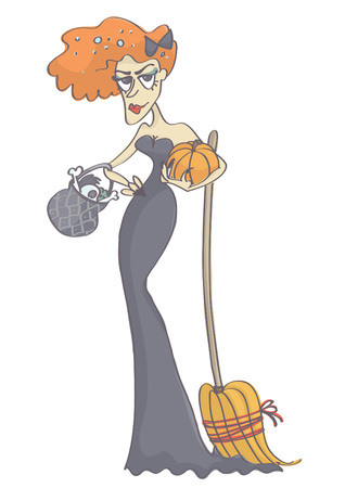 femme fatale: Cute, beautiful witch with ginger hair holding pumpkin, broom and pot. Vector cartoon of woman in a witch costume for halloween. Illustration