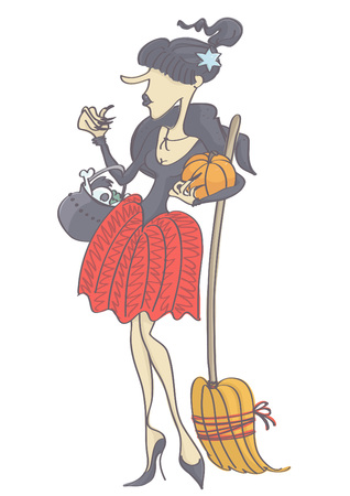 femme fatale: Funny, cute witch with black hair ponytail holding pumpkin, broom and pot. Vector drawing of woman dressed as witch.