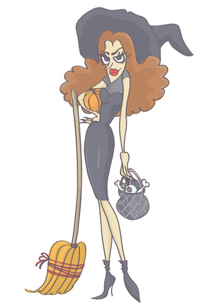 femme fatale: Beautiful, attractive witch with long brown hair holding pumpkin, broom and pot. Vector cartoon of witch woman.
