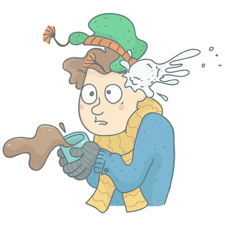 humorous: Humorous illustration of man being hit by snowball. Man in winter clothing with coffee cup spilling, shocked by snowball hit.
