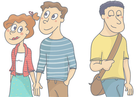 insincerity: Young love couple walking, woman looking and flirting with another man passing by. Vector illustration of female infidelity. Illustration