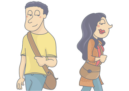 Man and woman walking by, looking and flirting with each other. Vector cartoon of love between strangers, love at first sight, isolated, white background.