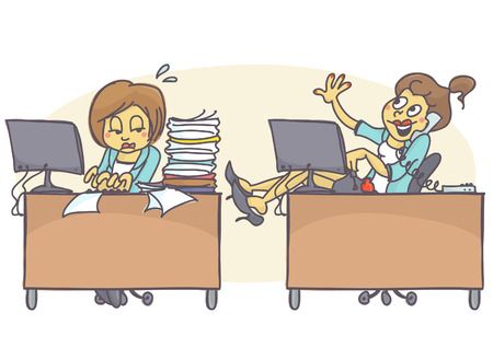 Female coworkers in office, one is working hard and has lot of work, other is lazy, talking on the phone and painting her nails. Vector cartoon of bad coworker situation at job. Bad behavior at work.