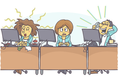 Funny cartoon of woman with bad coworkers at office, one is sloppy and untidy, stinking, and other is loud. Vector cartoon of bad coworker situation at work. Bad behavior at work. Иллюстрация
