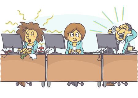 Grappige cartoon van vrouw met slechte collega's op kantoor, een is slordig en slordig, stinkend, en andere is luid. Vectorbeeldverhaal van slechte collegassituatie op het werk. Slecht gedrag op het werk. Stock Illustratie