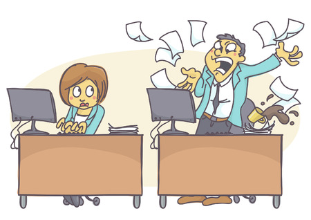 hard: Cartoon illustration of bad coworker situation at work. Woman working hard, professional and effective while male colleague is shouting angry at computer.
