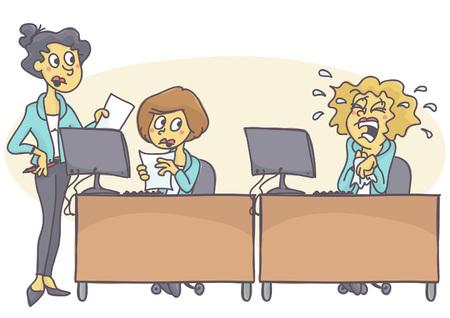 Dos mujeres de negocios colaborando y trabajando duro, mientras que el tercero está llorando, no capaz de hacer frente al estrés. Dibujo animado del vector de la crisis de la oficina. Mal comportamiento en el trabajo.