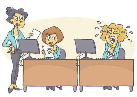Twee zakenvrouw werken samen en werkt hard terwijl de derde zich huilt, niet in staat is om met stress te gaan. Vector cartoon van kantoor crisis. Slecht gedrag op het werk