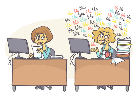 Female coworkers at the office, one is working hard while other one is babbling, does not care for work that is piling. Bad behavior at work. Vector cartoon of coworker problems.