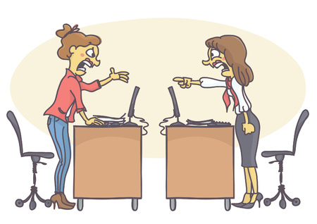 Two woman coworkers arguing in the office. Vector cartoon of colleagues at work screaming and yelling at each other, having a conflict. Bad behavior at work.
