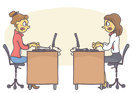 strife: Two female coworkers in office having a conflict, not talking to each other. Vector cartoon of colleagues at work having a strife. Coworker problems and bad behavior at work.