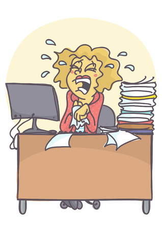 unfit: Business woman or clerk crying and sobbing at her work place. Vector cartoon of worker in stress situation in the office, not able to cope with problems. Bad Monday situation. Illustration