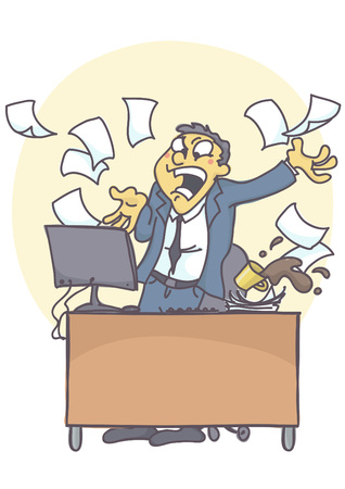Business man or clerk in the office, shouting angry at computer, throwing files. Bad coping with stress at work situation. Vector cartoon of bad behavior at work. Illustration