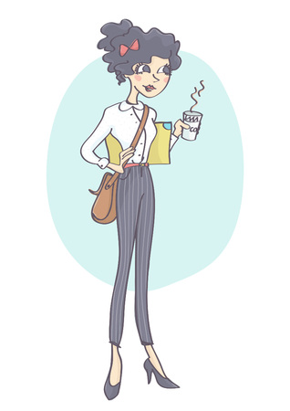 Pretty, stylish business woman or student standing and holding cup of hot drink. Fashionable, hipster  girl having a coffee break. Illustration