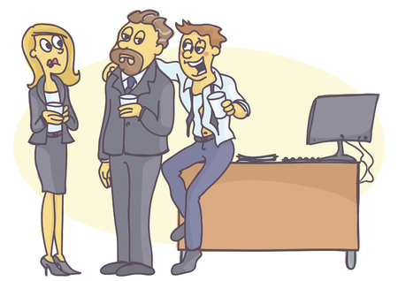 jobs: Drunken man at the office party, bothering his manager or coworker