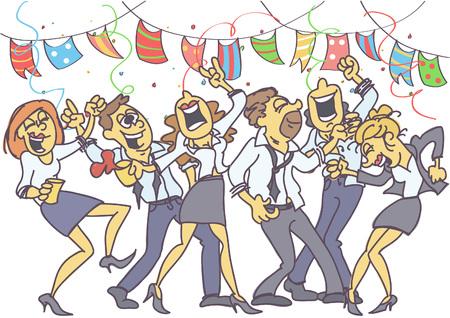 Impreza biurowa, podczas której współpracownicy tańczą, śpiewają i świętują.
