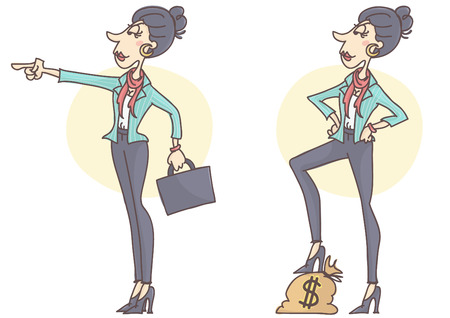 super woman: Confident, stylish and successful business woman in determined poses, looking ahead, set of two postures, vector cartoon.